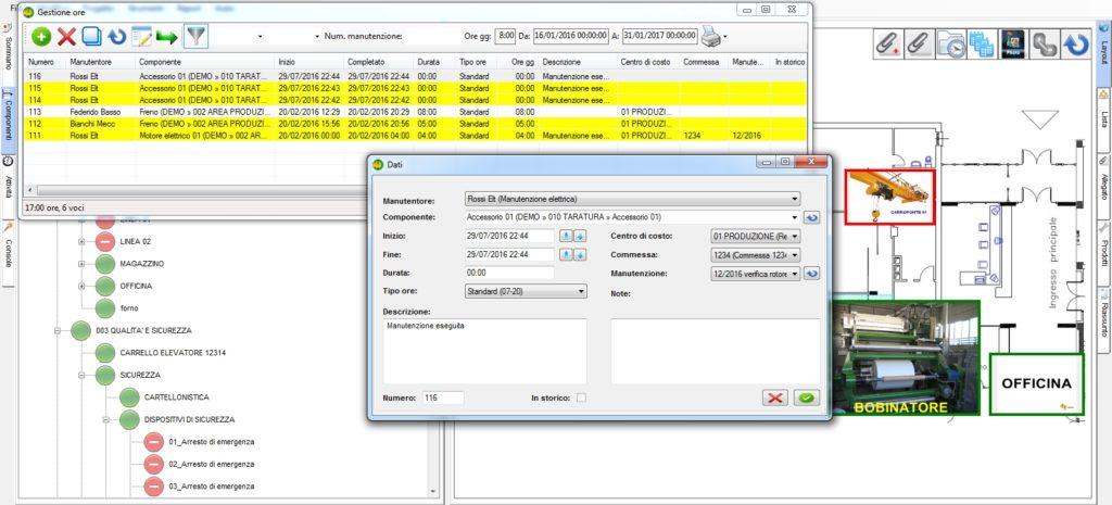 Sistema di gestione delle ore di intervento per l'operatore
